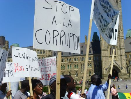 Senegalese-Canadians started their demonstration on Parliament Hill.