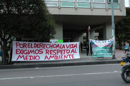 Community Members from the Municipality of Puerto Gaitan, Meta Demonstrate Outside Pacific Rubiales Energy Headquarters in Bogota