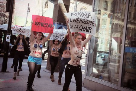 Femen Quebec on University Ave., near Tunisian Embassy office in Montreal. Photo by Francis William Rhéaume