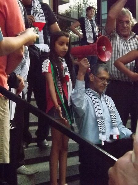 Palestinian girl addressing the crowd in front of the Israeli consulate in Montreal  - July 25