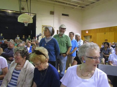Several hundred people voiced their opposition to the widening of Bayers Road at a community meeting on September 14.  Photo: Jim Guild