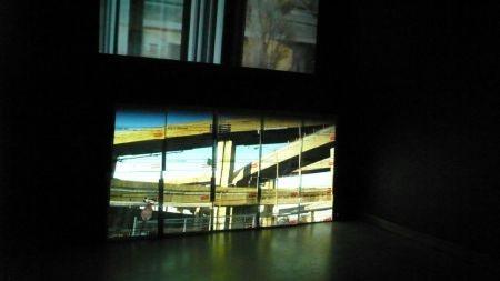 Victor Arroyo's art installation, pictured here, is a serious of videos that focus on displacement as a result of the construction and reconstruction of the Turcot Interchange. (Victor Arroyo)