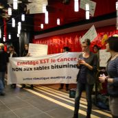 Concert contre le cancer : des militantEs dénoncent l'hypocrisie d'Enbridge [photos]