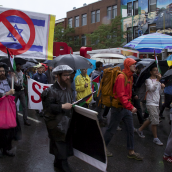 Despite Heavy Rain, Montrealers took to the Streets to Call for the Boycott, Divestment and Sanction against Israeli apartheid