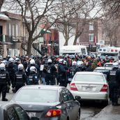 Barely 10 minutes after it started Montreal Police move in and arrest everyone.
