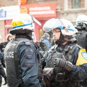 Riot Police start cleaning up small pockets of resistance during Montreal's 18th annual Protest against Police Brutality.