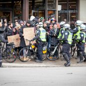 Protesters pedestrians alike get pushed around by police at Montreal's 18th annual Protest against Police Brutality.