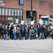 Around 300 people gathered to protest at Montreal's 18th annual Protest against Police Brutality.
