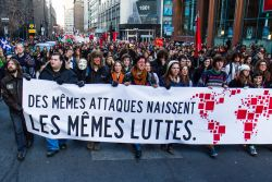 ASSÉ organized the protest as part of an international week of action against the commodification of education. (Robin Dianoux)