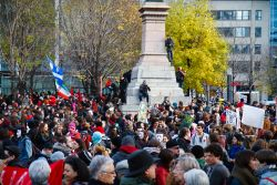 About 5,000 protesters gathered at Square Victoria and marched through the streets of Montréal. (Robin Dianoux)