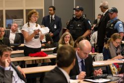 "Montrealers disrupt ""anti-democratic"" pipeline hearings"
