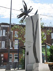 A monument in Québec City to remember the killing of protestors by Canadian soldiers, Québec Printemps 1918.