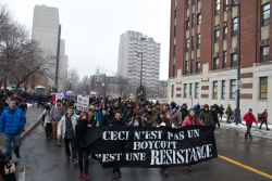 Montrealers march against tuition fee increases during the first day of the Summit on Higher Education. Photo: Pierre Ouimet (http://www.flickr.com/photos/pierreouimet/)