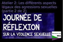 Atelier 2: Les différents aspects légaux des agressions sexuelles (partie 2 de 2)