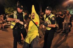 Banane Rebelle in an equally absurd arrest on May 24