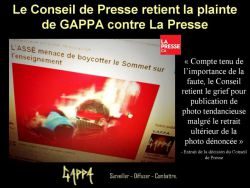 Le Conseil de Presse retient la plainte de GAPPA contre LaPresse