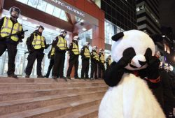 Pandas, better take off your mask. The SPVM may be deem your costumes unreasonable. Via Anarchopanda on Facebook.