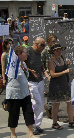 Pro-Israel protester allowed to walk peacefully among the Gaza-solidarity protesters