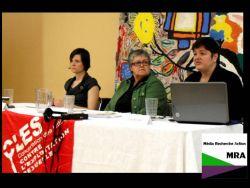 De gauche à droite: Claudia Bouchard, Diane Matte et Julie Bindel - Une photo de Média Recherche Action