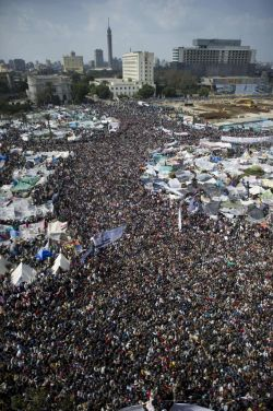 The mobilization & courage of millions of Egyptians led to the fall of Mubarak's regime. CC Al Jazeera