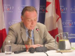 Canada's Environment Minister Peter Kent at a press conference in Durban