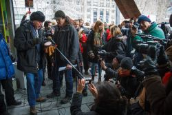Speakers and performers at Montréal's Idle No More protest on Friday, January 11th were surrounded by a veritable media circus. (Robin Dianoux)