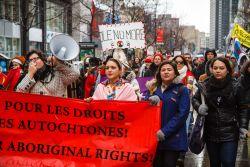 Mélissa Mollen Dupuis and Marie-Céline Charron, two of the march's organizers. (Robin Dianoux)