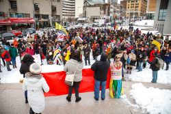 Protesters gathered in Place des Spectacles, filling the square. (Robin Dianoux)