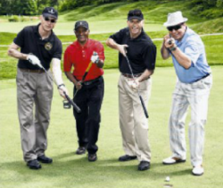 Michel Duhamel (third from left) poses with his team at the Canadian embassy's golf tournament in 2011. The majority of the members of the winning team were employees of weapons manufacturer Lockheed Martin. (Image: Washington Diplomat)