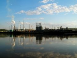 Photo: Dru Oja Jay. A Suncor processing plant, as seen from the Athabasca River.