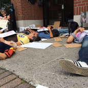 Die-in at Mulcair's Office to Denounce NDP's Position on Israel